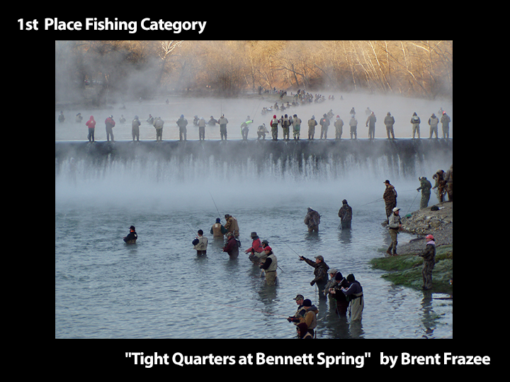 """1st Place Fishing Category """"Tight Quarters at Bennett Spring"""" by Brent Frazee"""