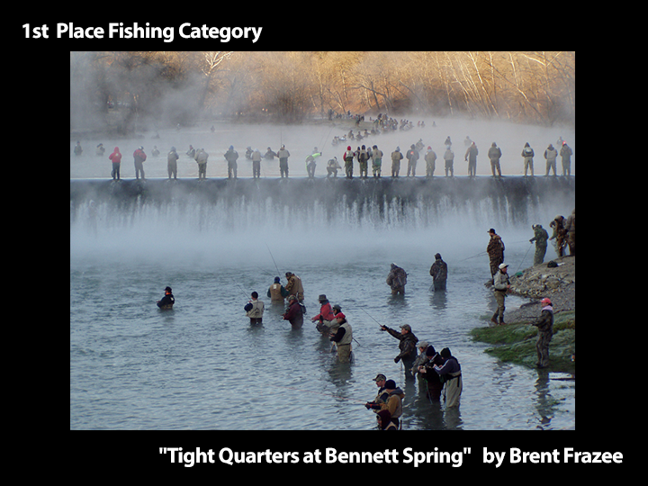 "1st Place Fishing Category ""Tight Quarters at Bennett Spring"" by Brent Frazee"